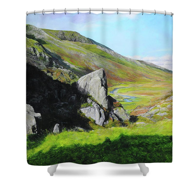 Landscape Shower Curtain featuring the painting Down The Valley by Harry Robertson