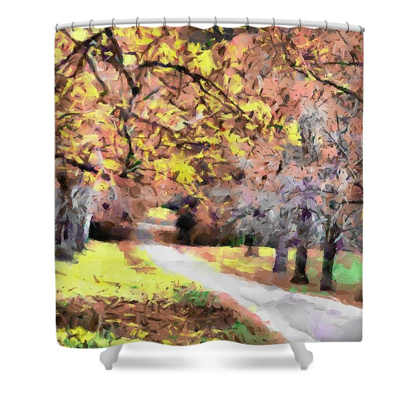 Fall Shower Curtain featuring the photograph Down The Way by Teresa Henry