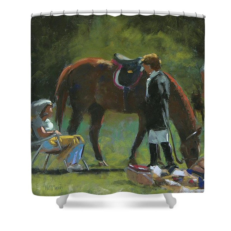 Horse Shower Curtain featuring the painting Down Time by Mary McInnis