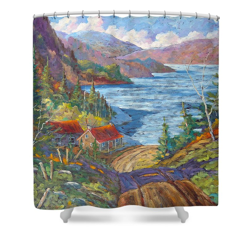 Landscape Shower Curtain featuring the painting Down To The Lake by Richard T Pranke