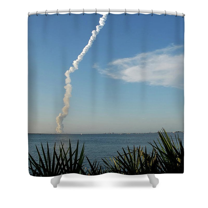 Shuttle Launch Shower Curtain featuring the photograph Down Range by David Lee Thompson