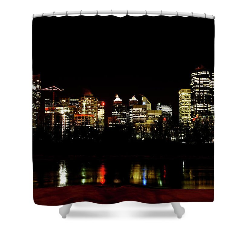 Downtown Calgary Night Lights Reflection Off Bow River Rural Alb Shower Curtain featuring the digital art Downtown Calgary At Night by Mark Duffy