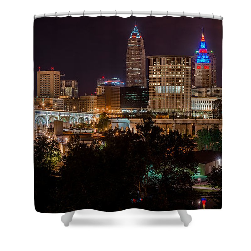 City View Shower Curtain featuring the photograph Downtown Cleveland Veteran Memorial Bridge by Frank Cramer