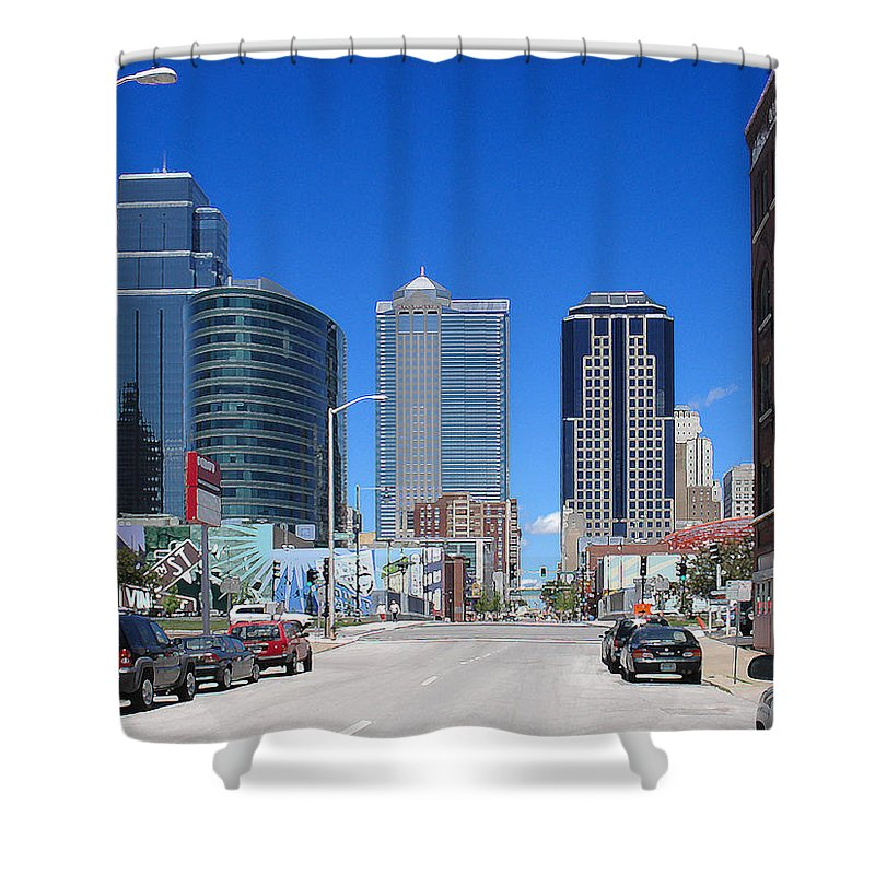 City Shower Curtain featuring the photograph Downtown Kansas City by Steve Karol