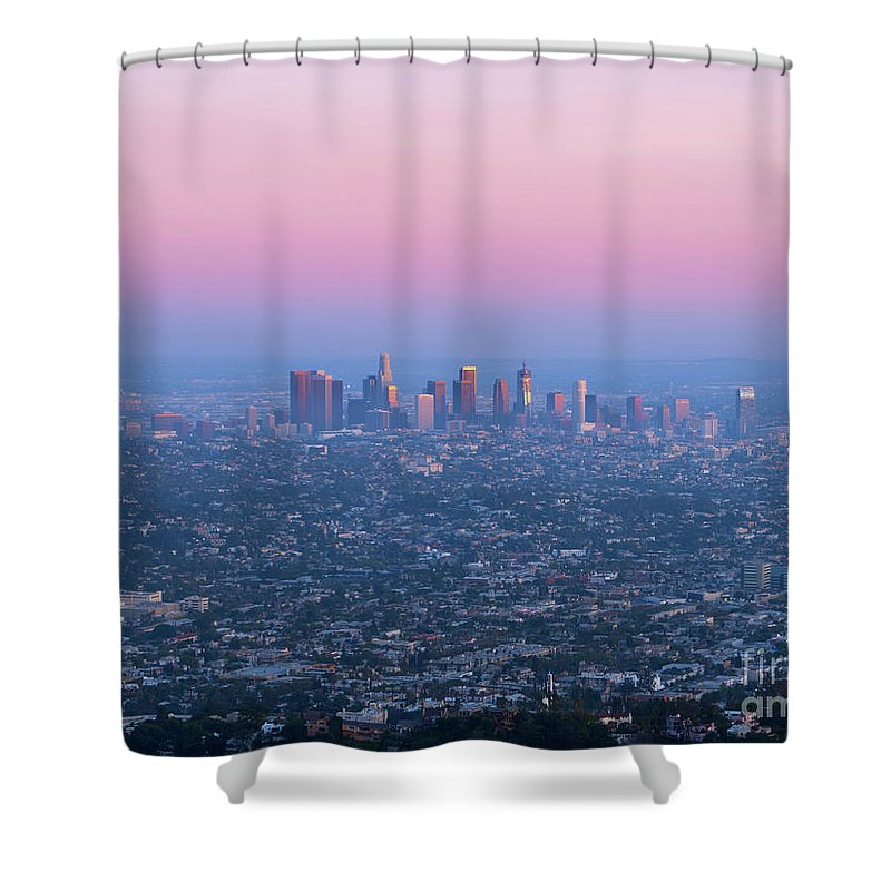 Los Angeles Shower Curtain featuring the photograph Downtown Los Angeles Skyline At Sunset by Konstantin Sutyagin