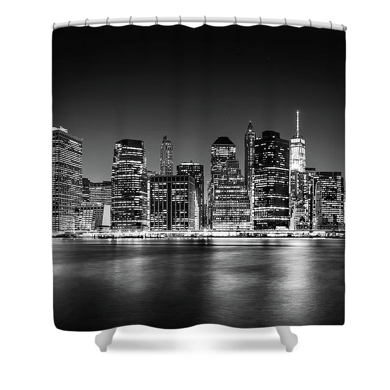 One World Trade Center Shower Curtain featuring the photograph Downtown Manhattan Bw by Az Jackson