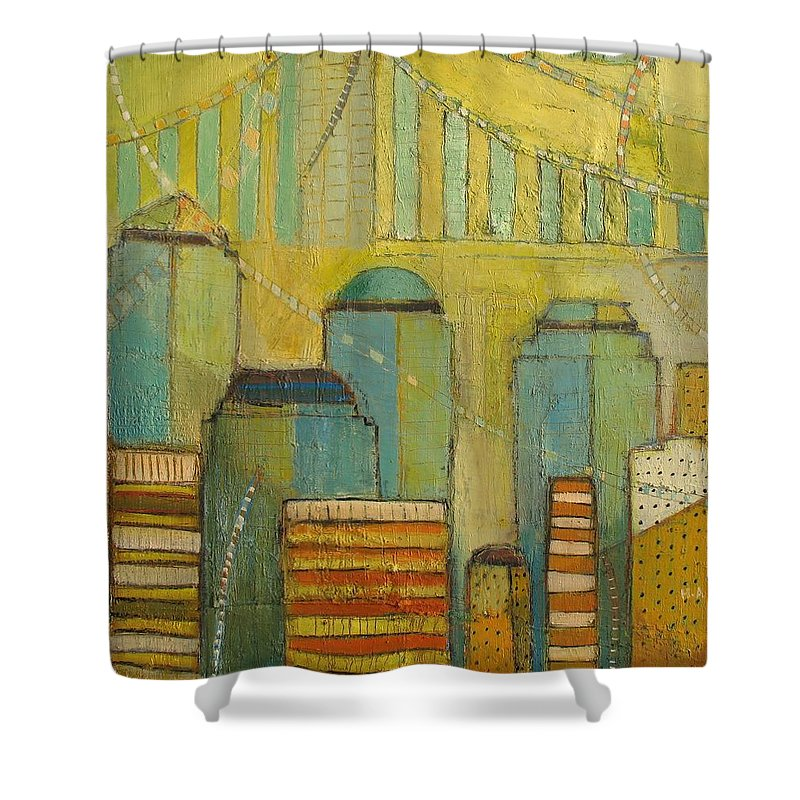 Shower Curtain featuring the painting Downtown Manhattan by Habib Ayat
