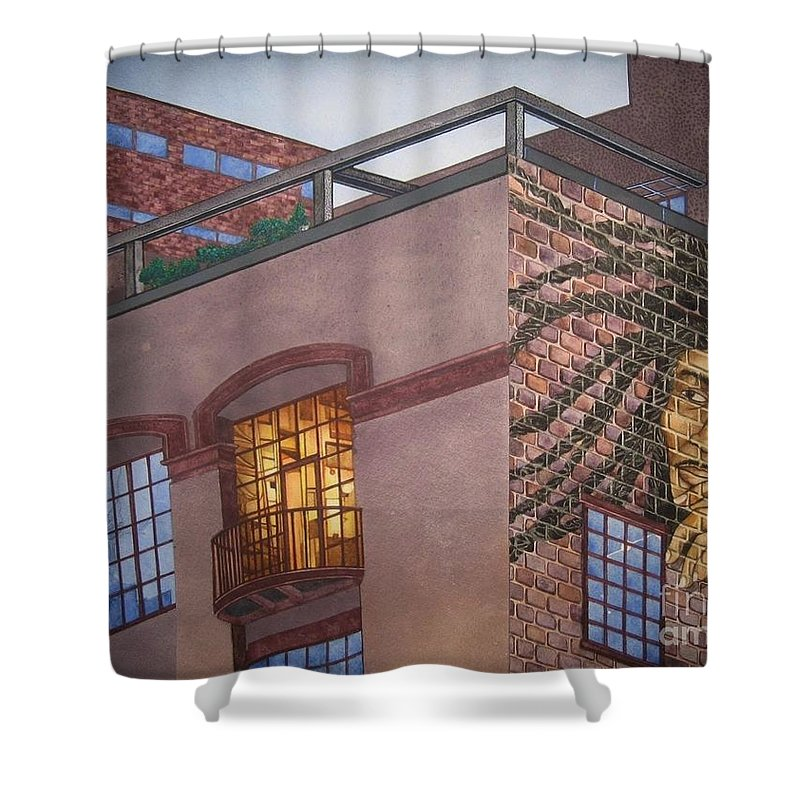 Shower Curtain featuring the painting Downtown Marley by JL Vaden