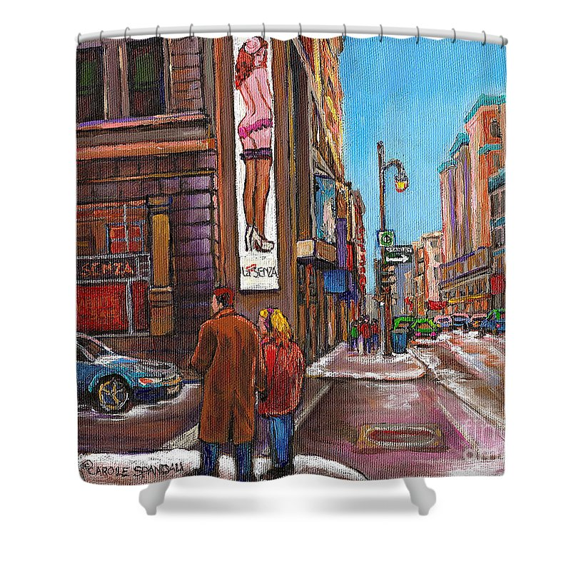 Montreal Shower Curtain featuring the painting Downtown Montreal Streetscene At La Senza by Carole Spandau