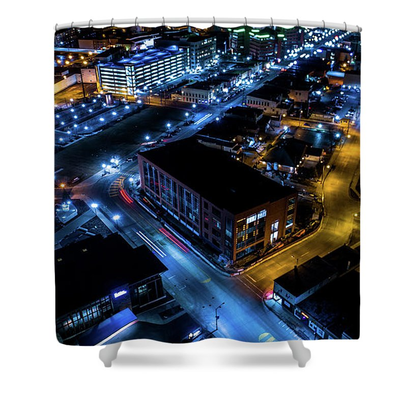Downtown Shower Curtain featuring the photograph Downtown Neenah by Scott Hughes