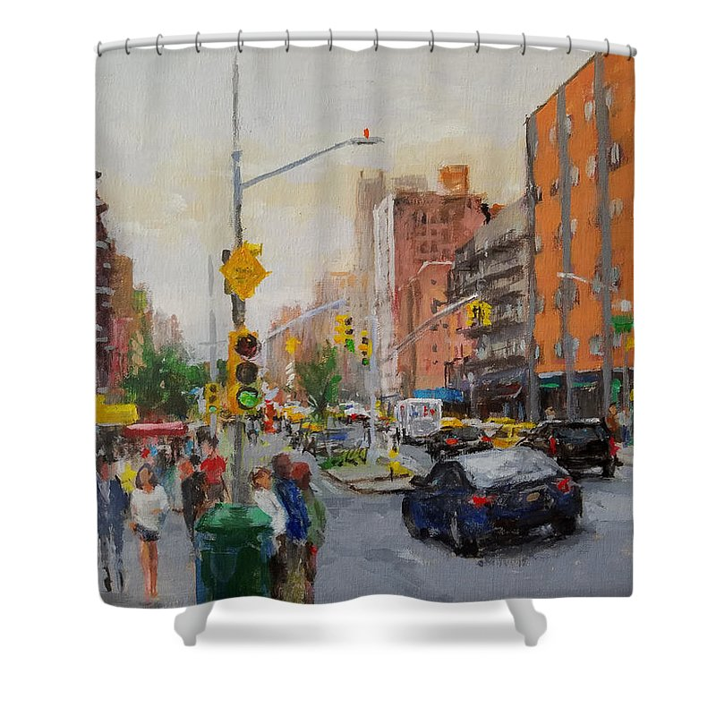 Landscape Shower Curtain featuring the painting Downtown On Seventh No. 1 by Peter Salwen