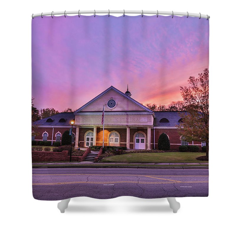 Rockingham Shower Curtain featuring the photograph Downtown Rockingham by Jimmy McDonald
