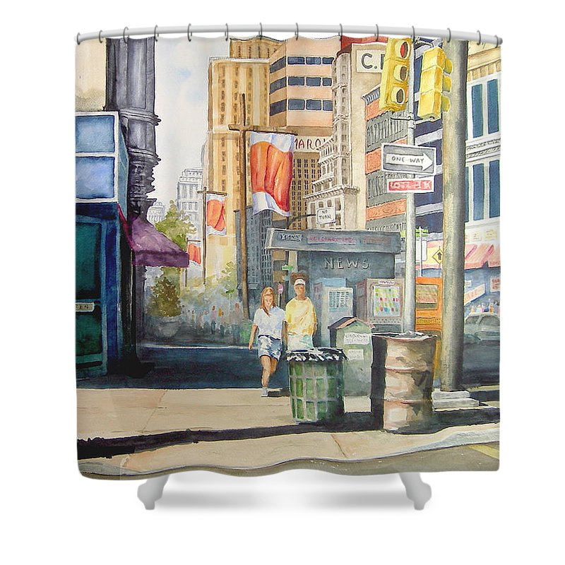 City Shower Curtain featuring the painting Downtown by Sam Sidders