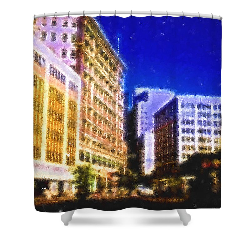 Shower Curtain featuring the digital art Downtown Seattle by Cathy Anderson