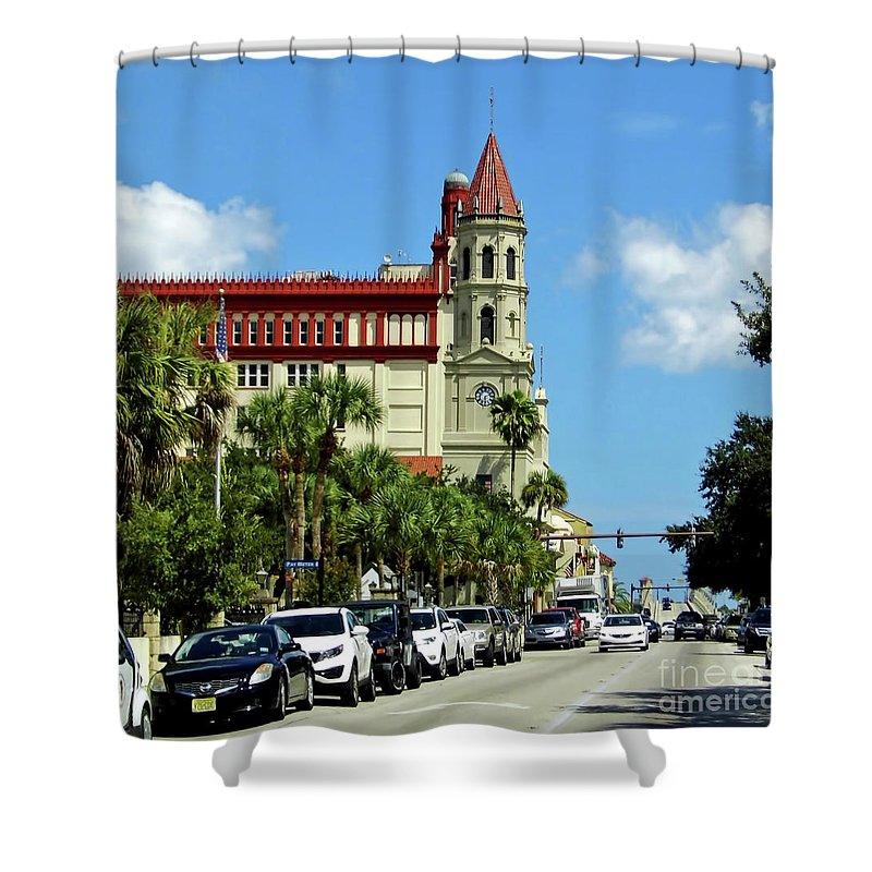 Oldest City Shower Curtain featuring the photograph Downtown St Augustine by D Hackett