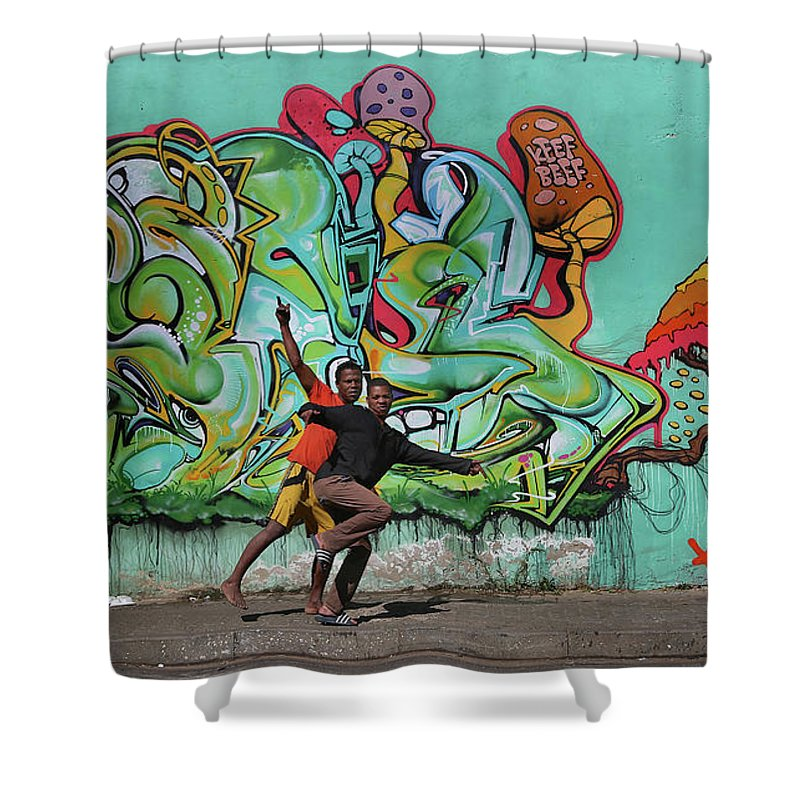 Street Mural Shower Curtain featuring the photograph Downtown Walkers by Suzanne Morshead