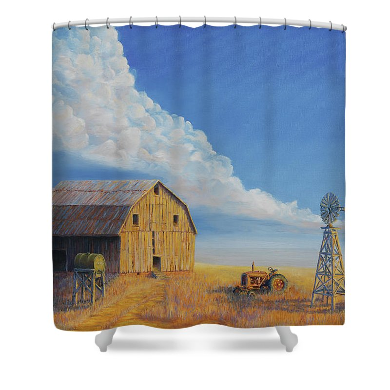Barn Shower Curtain featuring the painting Downtown Wyoming by Jerry McElroy