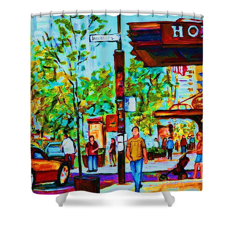 Montreal Streetscene Shower Curtain featuring the painting Downtowns Popping by Carole Spandau
