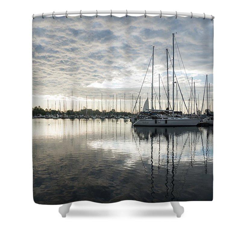 Georgia Mizuleva Shower Curtain featuring the photograph Downy Soft Clouds At The Marina by Georgia Mizuleva