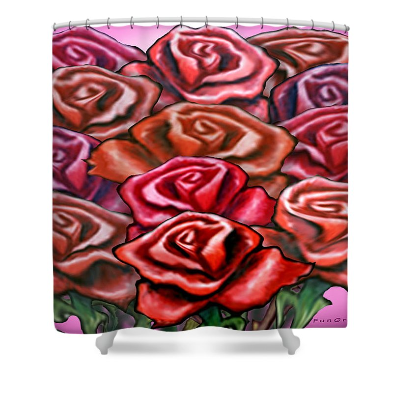 Rose Shower Curtain featuring the painting Dozen Roses by Kevin Middleton