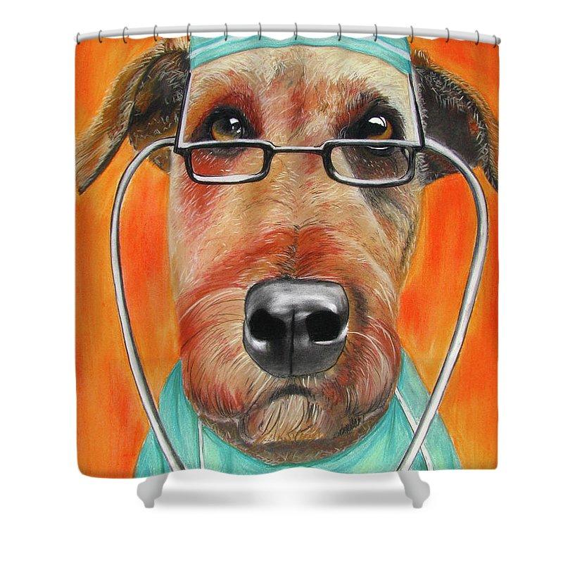 Michelle Hayden-marsan Painting Shower Curtain featuring the painting Dr. Dog by Michelle Hayden-Marsan