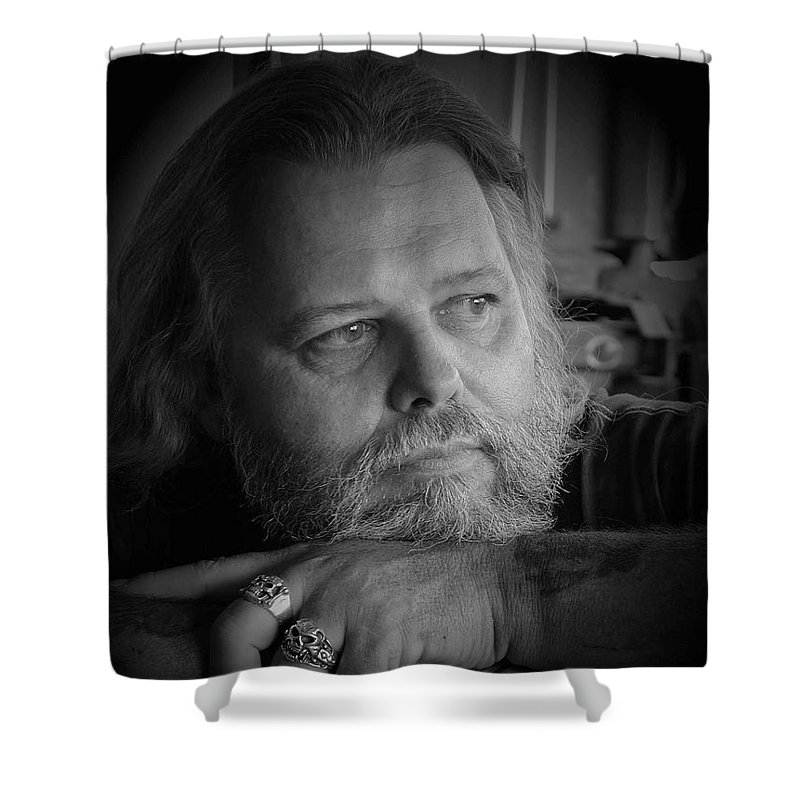 Biker Shower Curtain featuring the photograph Dr. Nick by D'Arcy Evans