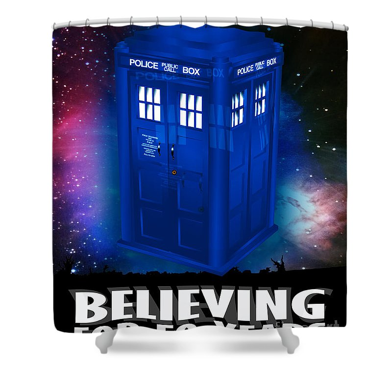 The Doctor Shower Curtain featuring the painting Dr Who Believing by Neil Finnemore