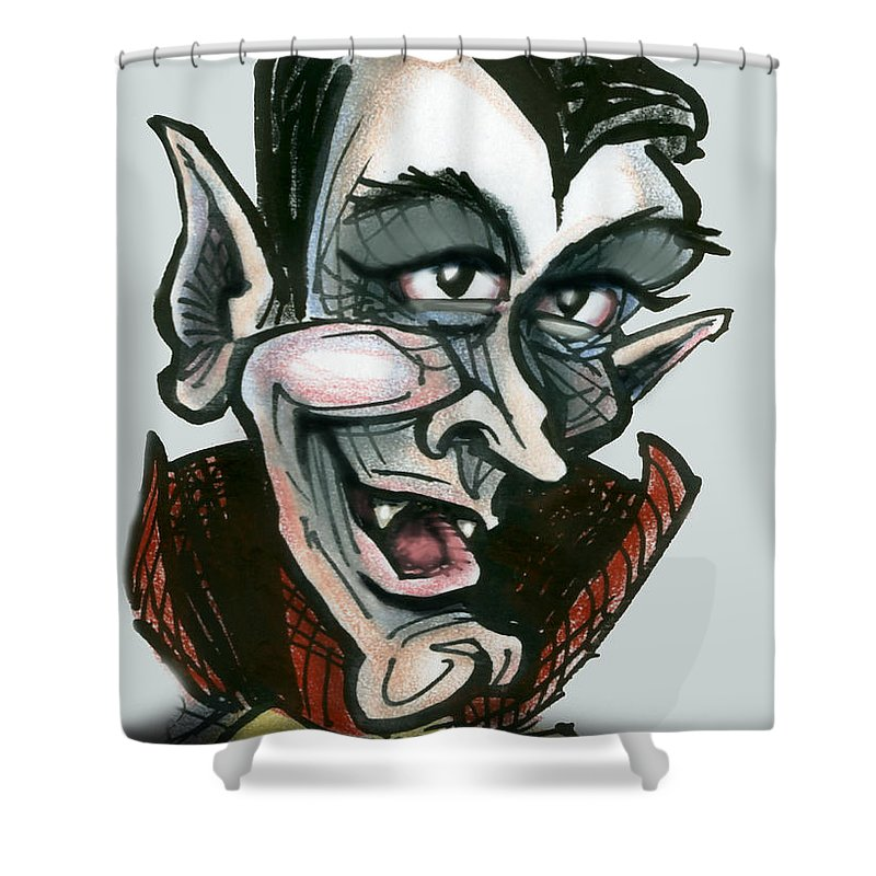 Dracula Shower Curtain featuring the greeting card Dracula by Kevin Middleton