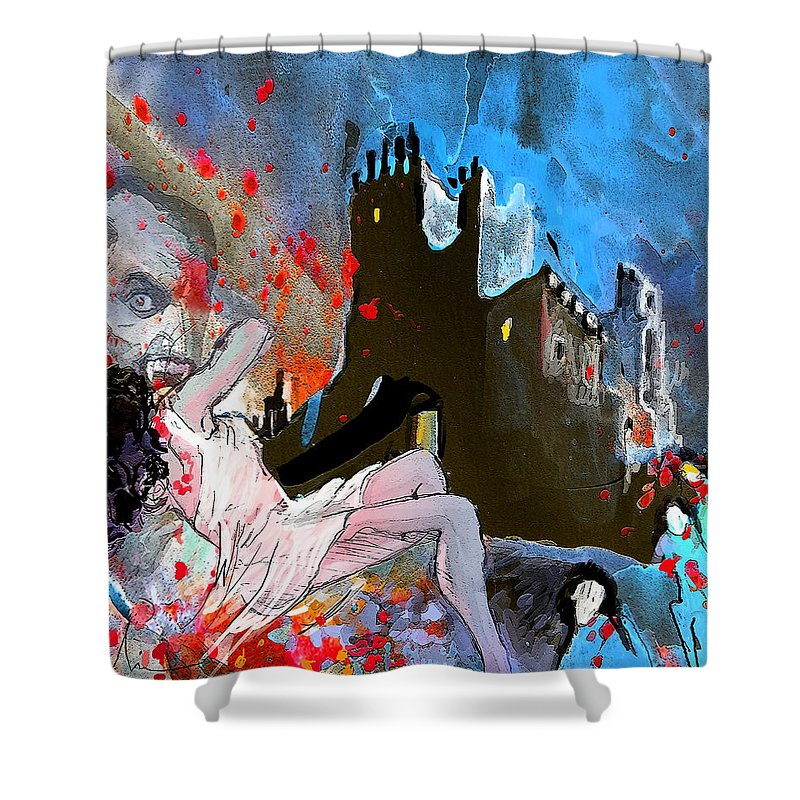 Dracula Shower Curtain featuring the painting Dracula by Miki De Goodaboom