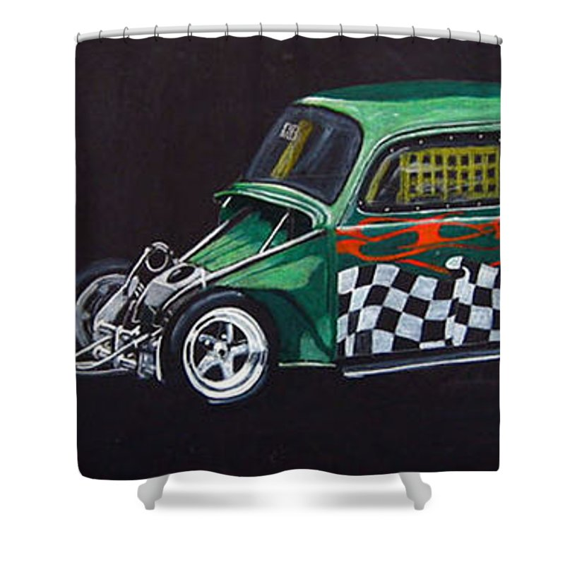 Vw Shower Curtain featuring the painting Drag Racing Vw by Richard Le Page