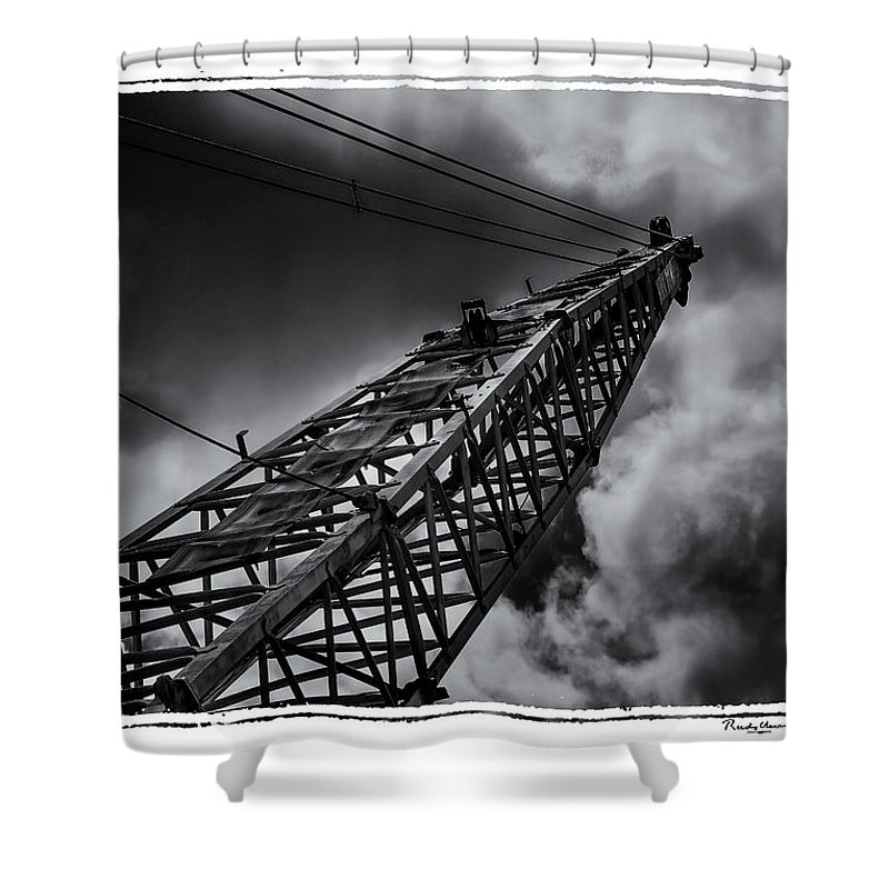 Old Shower Curtain featuring the photograph Dragline 553bw by Rudy Umans