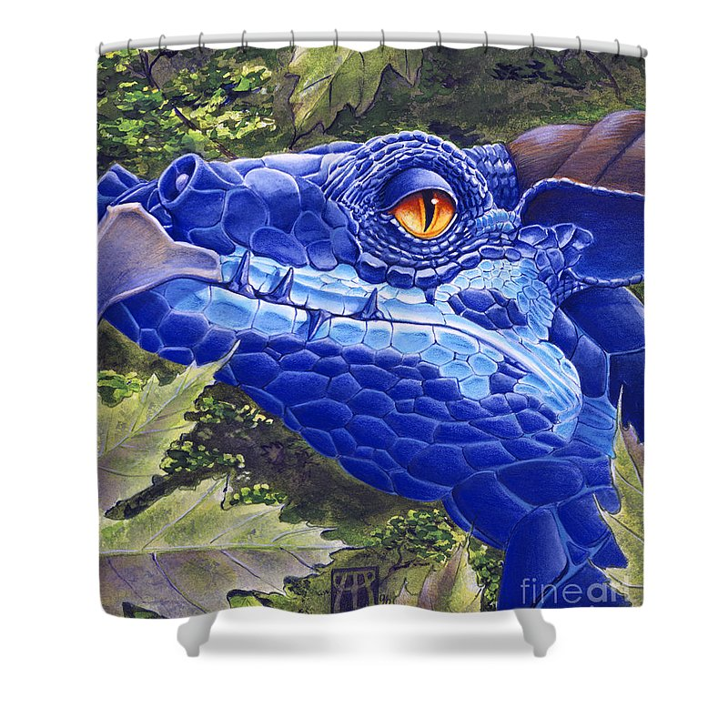 Dragon Shower Curtain featuring the painting Dragon Eyes by Melissa A Benson