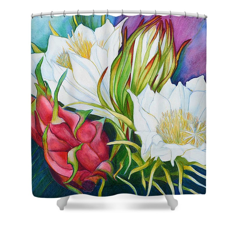 Dragon Fruit Shower Curtain Featuring The Painting By Lorraine Romaior