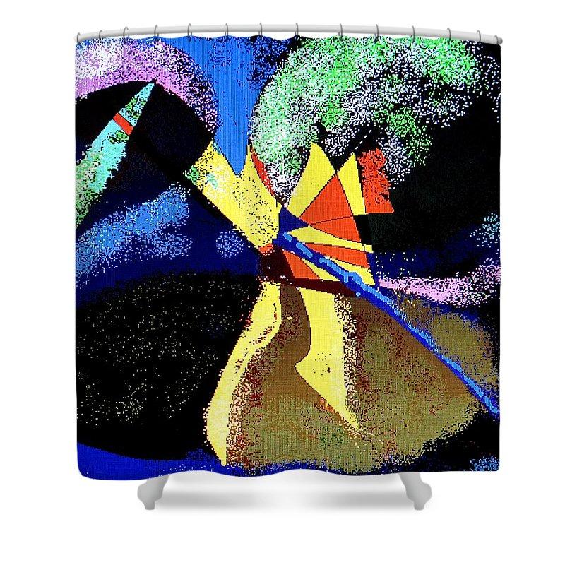 Digital Drawing Shower Curtain featuring the digital art Dragon Killer by Ian MacDonald