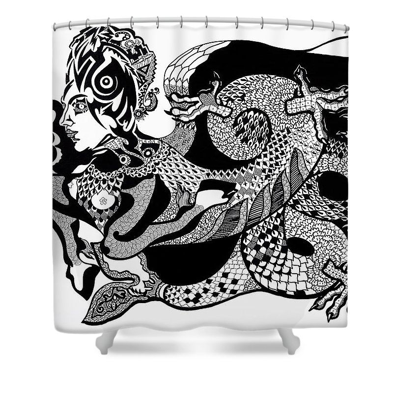 Fantasy Shower Curtain featuring the drawing Dragon Lady by Yelena Tylkina