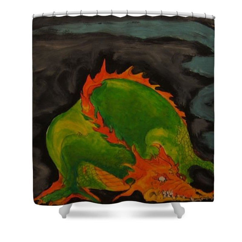 Dragon Shower Curtain featuring the painting Dragon by Todd Artist