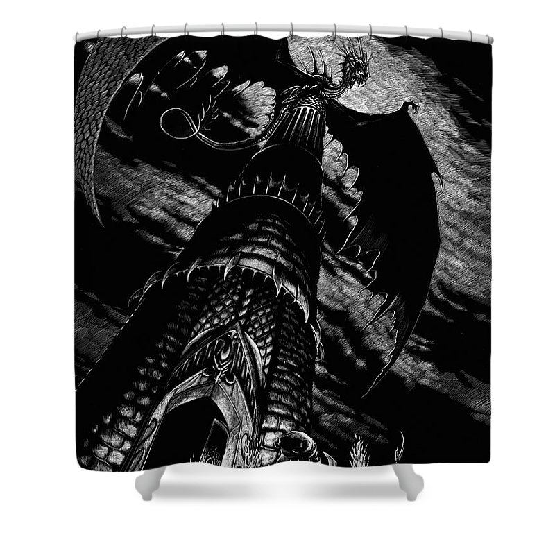 Dragon Shower Curtain featuring the drawing Dragon Tower by Stanley Morrison