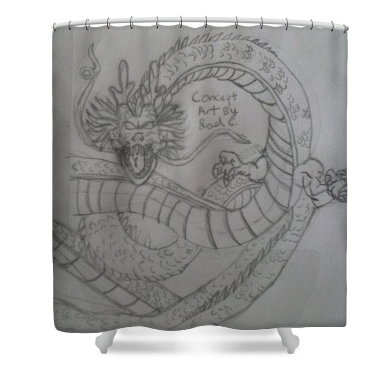 Dragon Ball Z. Shenron Shower Curtain featuring the drawing Dragonball Z by Joel Castillo