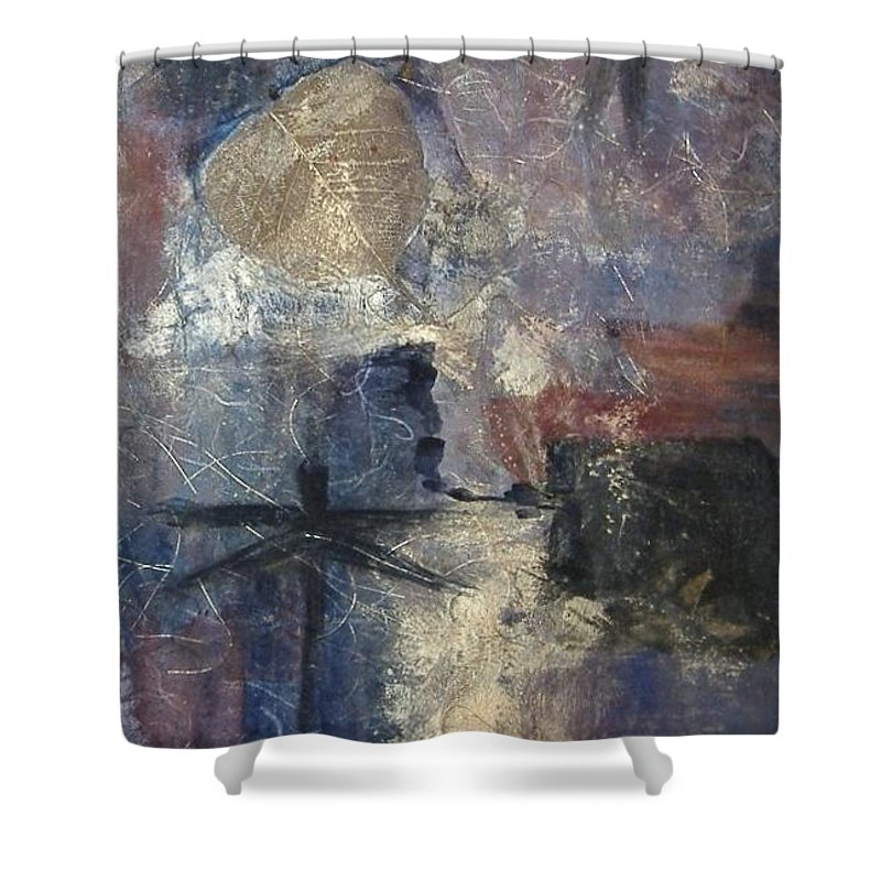 Collage Shower Curtain featuring the mixed media Dragonflies by Pat Snook