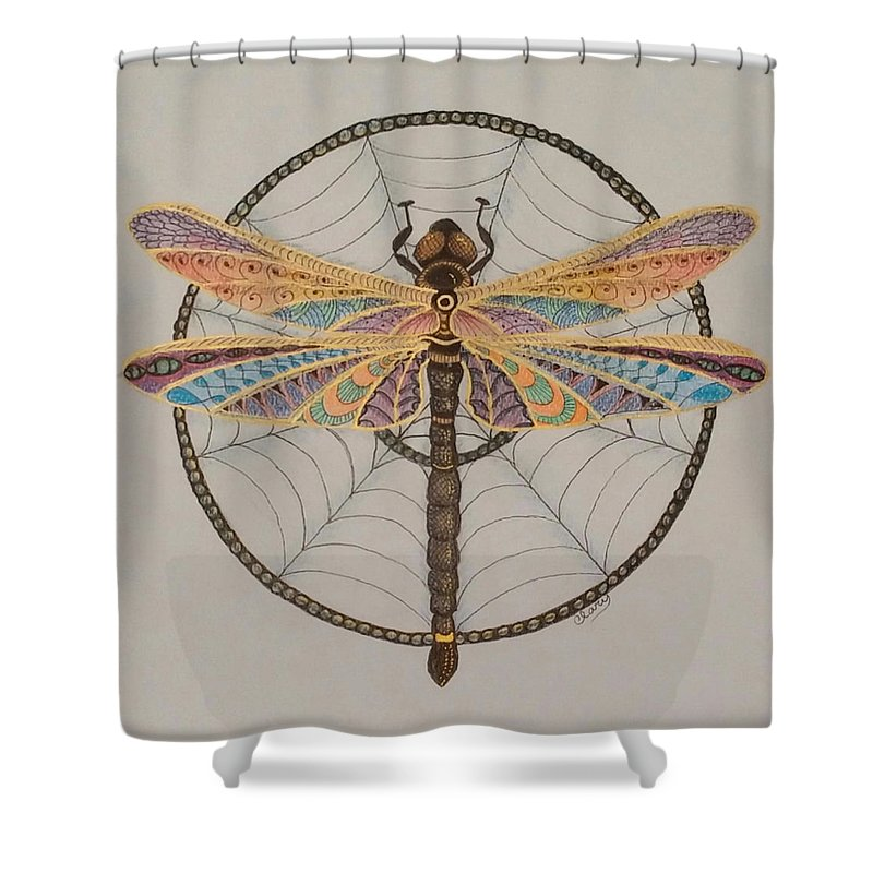 Dragonfly Shower Curtain Featuring The Drawing Dreamcatcher By Linda Clary