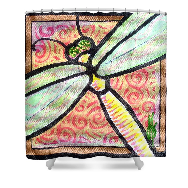 Dragonfly Shower Curtain featuring the painting Dragonfly Fantasy 3 by Jim Harris