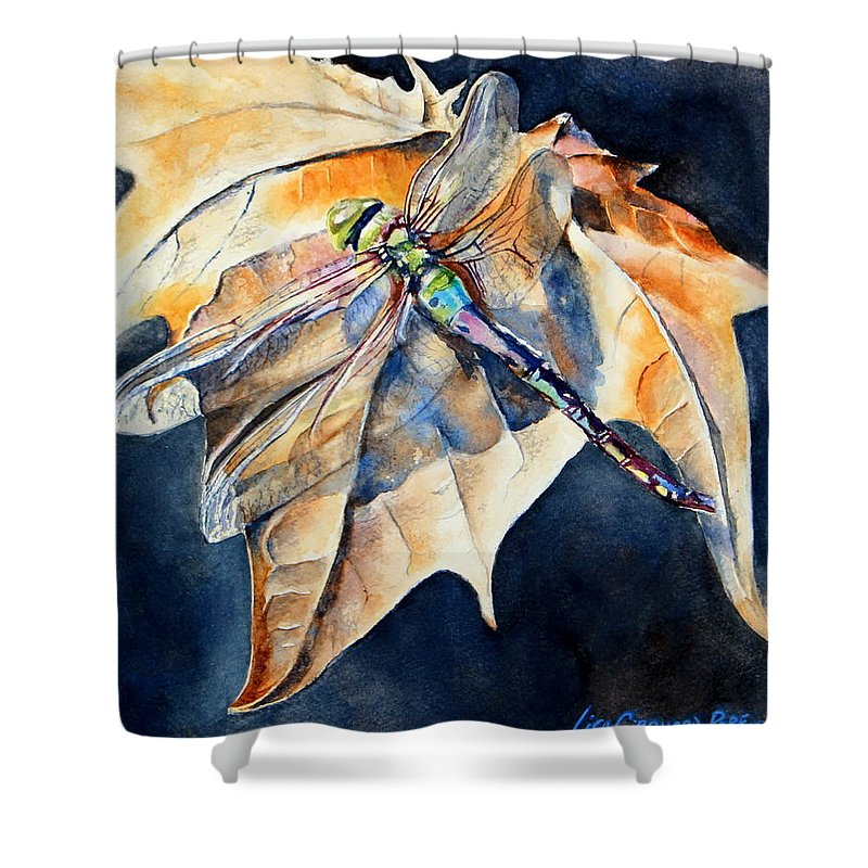 Dragonfly Shower Curtain featuring the painting Dragonfly by Lisa Pope