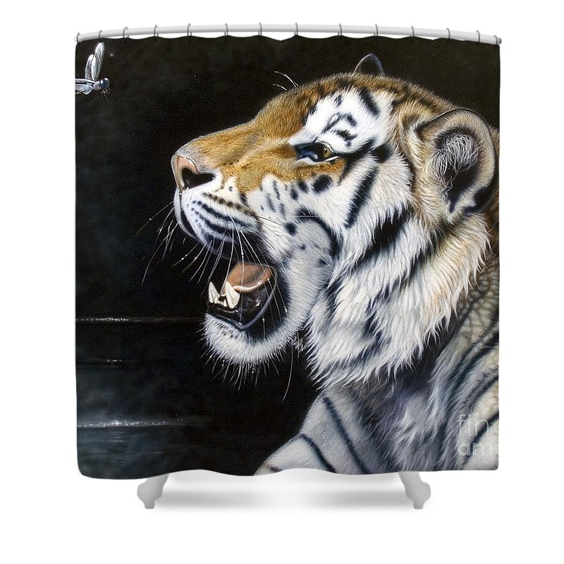 Tiger Shower Curtain featuring the painting Dragonfly by Sandi Baker