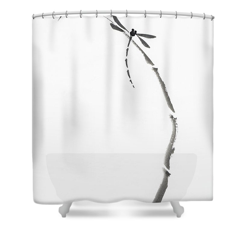 Dragonfly Shower Curtain Featuring The Photograph Sitting On Bamboo Stalk Japanese Zen Sumi E
