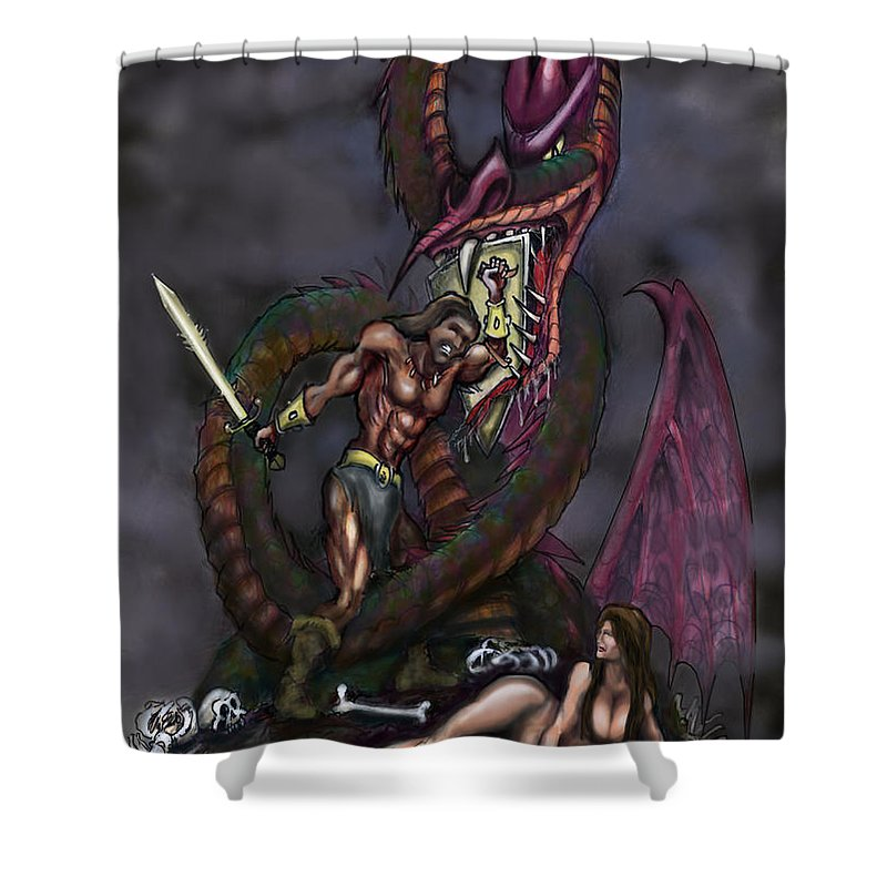Dragon Shower Curtain featuring the painting Dragonslayer by Kevin Middleton