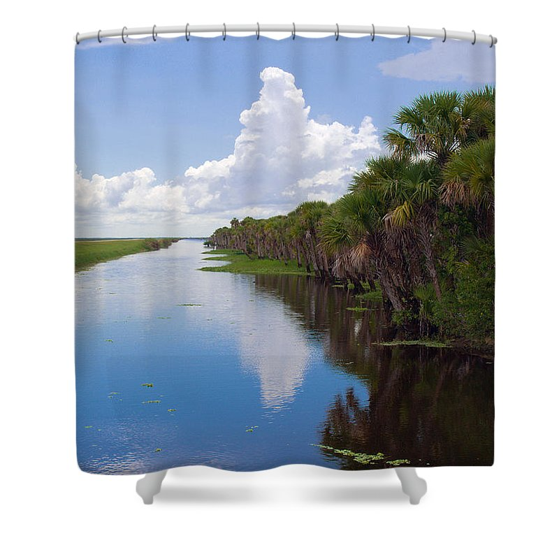 Florida; Water; Canal; Stick; Marsh; Drowned; Trees; Drown; Fellsmere; Sebastian; River; Indian; Clo Shower Curtain featuring the photograph Drainage Canals Make Farming Possible In Florida by Allan Hughes