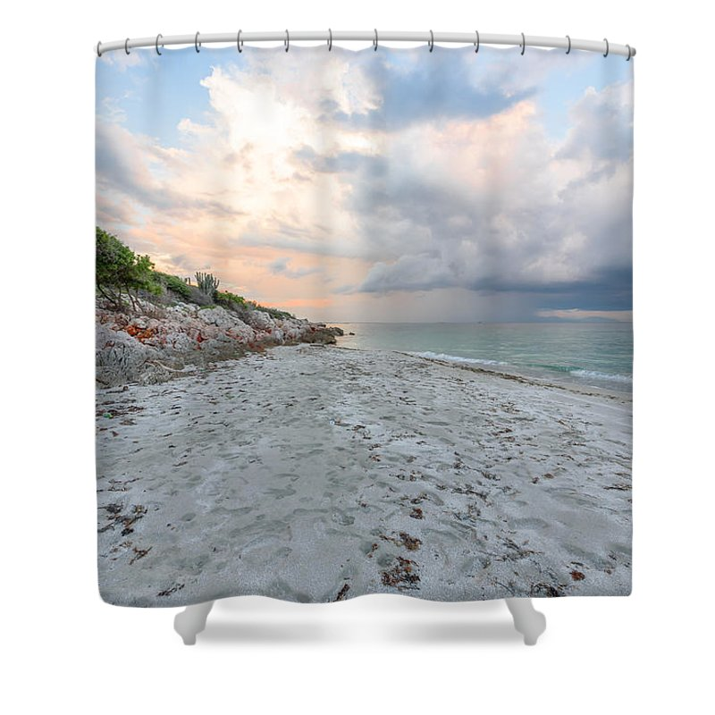 Beach Shower Curtain featuring the photograph Drama by Bryan Smith