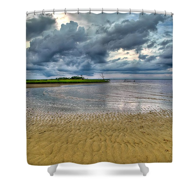 Beach Shower Curtain featuring the photograph Dramatic Cloudscape by Rich Leighton