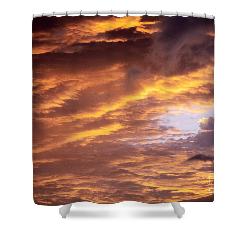 Afternoon Shower Curtain featuring the photograph Dramatic Orange Sunset by Carl Shaneff - Printscapes