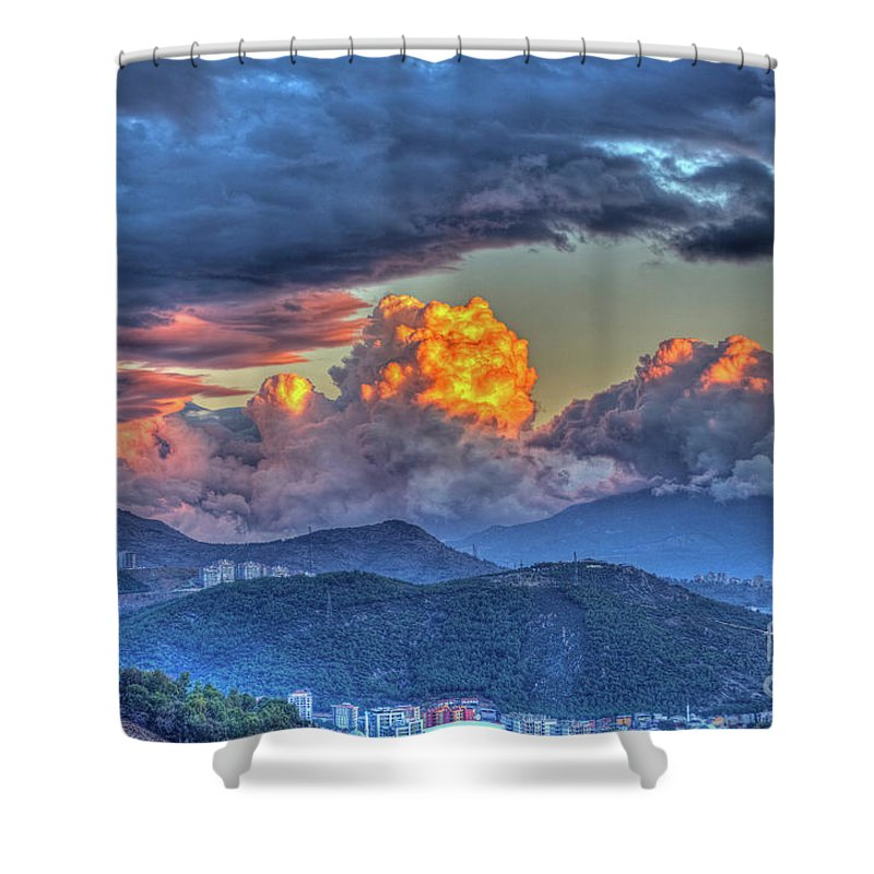 Dramatic Shower Curtain featuring the photograph Dramatic Sky And Clouds by Dilsad Photography